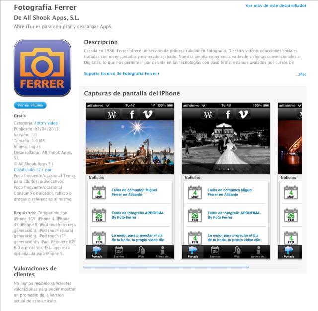 Foto Ferrer ya dispone de su propia App para sus clientes de IOS