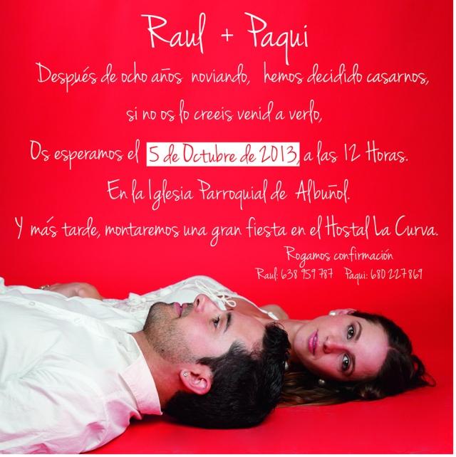 Invitacion Raul + Paqui